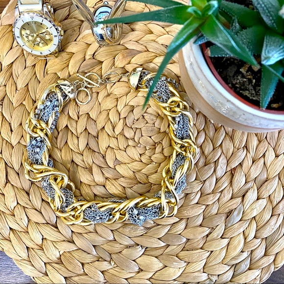 Banana Republic Gold and Silver Statement Necklace